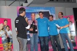 Freuen sich über ihren Sieg in der Premiumliga Nord: Das Team 3er Bob.