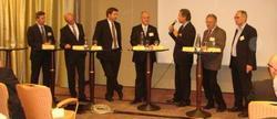 Sebastian Blumenthal (FDP), Siegfried Kauder (CDU), Lars Klingbeil (SPD), Ralf-Michael Löttgen Bundesgeschäftsführer BDWi (Moderation), Andy Meindl (Präsident des BA), Hubert Schmid (1. Vorsitzender der VG) und Jörg Weinrich (Vorsitzender des BDWi-Arbeitskreises Rechtewahrung im Internet).