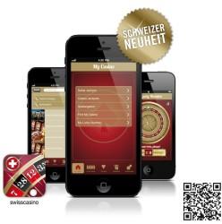 Die Swiss Casinos App. Mit dem rechts unten eingeblendeten QR Code können Sie die App direkt herunterladen.