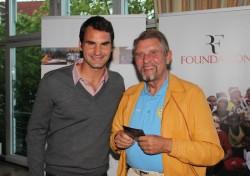Gemeinsam für die gute Sache – Roger Federer und Paul Gauselmann (v.l.n.r.)