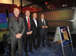 V.l.n.r.: Direktor Ralf Item, Moderator Michael Körner, Dealer Walter Linner, Technischer Leiter Jozsef Dudas (Foto: Mangold)
