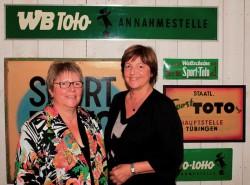 Lotto-Geschäftsführerin Marion Caspers-Merk (li.) mit der früheren Bundesgesundheitsministerin Ulla Schmidt in der Stuttgarter Lotto-Zentrale.