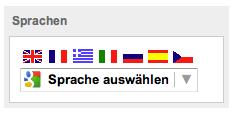 """Mit einem Klick auf """"Sprache auswählen"""" können Sie sich die angezeigte Seite in bis zu sieben Sprachen übersetzen lassen."""