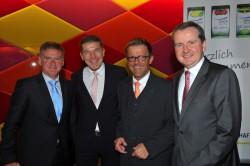 V.l.n.r.: Ricardo Miranda (DAGV), Pit Arndt (DAGV), Gereon Haumann (DEHOGA) und Jörg Meurer (DAGV).