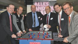 V.l.n.r.: Jörg Meurer (DAGV), Ex-Fußballprofi Axel Roos, Xaver Jung (MdB-CDU), Michael Littig (MIT Rheinland-Pfalz), Christian Baldauf (MdL-CDU), Gereon Haumann (MIT Rheinland-Pfalz)