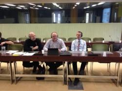 Die Teilnehmer aus Deutschland und Luxemburg Bernhard Stracke (ver.di), Christoph Dreher und Carsten Meerpohl aus Luxemburg.