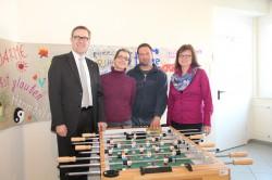 V. l. n. r.: Mario Hoffmeister (Leiter Zentralbereich Kommunikation), Maria Heiss (pädagogische Mitarbeiterin), Thomas Hilmert (pädagogischer Mitarbeiter), Andrea Berger (Leiterin Jobcenter).