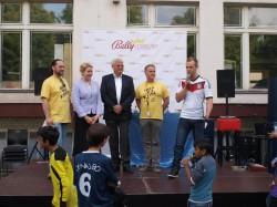 Thorsten Schlenger von 48 Stunden Neukölln, Frau Dr. Giffey, Wolfram Seiffert, Dr. Martin Steffens von 48 Stunden Neukölln und Johannes Kirsch.