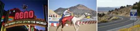 Ein abwechslungsreiches Programm: coole Autos, schnelle Kamele und sportliche Radstrecken. (Bildquelle: Nevada Comission on Tourism)
