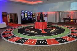 Der acht Meter grosse Big Roulette Teppich vor Beginn der Veranstaltung.