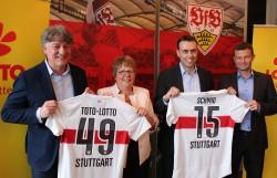 VfB-Präsident Bernd Wahler, Lotto-Geschäftsführerin Marion Caspers-Merk, Minister Nils Schmid und VfB-Vorstand Jochen Röttgermann (v.l.) beim Pressegespräch in der Mercedes-Benz-Arena.
