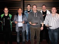 V.l.n.r.: Marcel Preußner (Poker-Team Ring Casino), Rolf Müller, Andreas Hubertz, Christian Balter,Tobias Schwartz, Franz Düx. (Foto: Spielbank Bad Neuenahr GmbH & Co. KG)