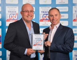 Quentin Stott (right) Managing Director Reflex Gaming and Ian Chuter, Non-Executive Director, receive The Sunday Times sponsored award for being one of the UK's fastest growing privately owned technology companies.