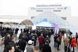 Visitors queuing outside ExCel London for ICE Totally Gaming