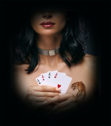 Poker player woman holding four aces.