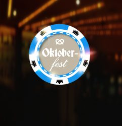 Casino chip on shining background with bokeh