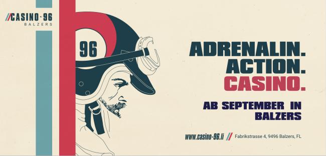 Plakat der Eröffnungskampagne für das Casino 96 in Balzers.
