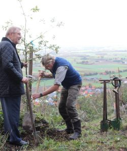 """Getreu Luthers Motto: """"Wenn ich wüsste, dass morgen die Welt unterginge, würde ich heute noch ein Apfelbäumchen pflanzen"""", pflanzten Paul Gauselmann (v.l.) und Thomas Schmidt (Forstfachmann von Trinkwasserwald) symbolisch einen Apfelbaum."""