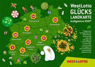 Die Gewinnerbilanz 2020: Während der zurückliegenden zwölf Monate gratulierte WestLotto nicht nur 31 Millionären, sondern auch 186 Tippern, die Beträge im sechsstelligen Bereich erzielt. Im Schnitt freute sich somit jeden zweiten Tag ein Spielteilnehmer in Nordrhein-Westfalen über einen Betrag in dieser Größenordnung.