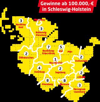 Karte der Großgewinne