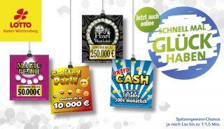 Vier neue Online-Rubbellose bei Lotto Baden-Württemberg.