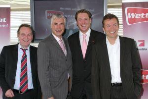 Detlef Train - Gründer Intertops, Toni Polster, <br>Dr. Michael Stix - Projektleiter ProSieben Austria,<br> Markus Breitenecker  <br>Geschäftsführer ProSieben Austria