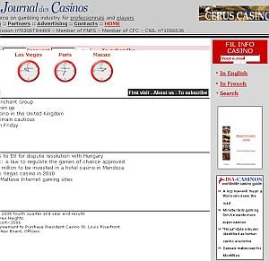 Webseite des Journal de Casinos