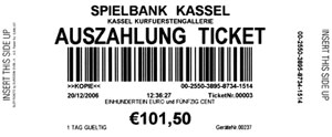 Ein Ticket aus der Spielbank Kassel