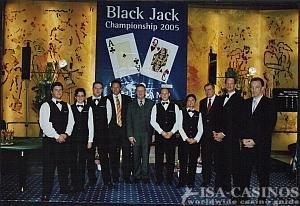 Die gesamte Turnierleitung des Black Jack Turniers<br>in der Spielbank Stuttgart