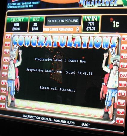 Jackpot-Gewinnmeldung am Ozzy´s Challenge in der Spielbank Potsdam