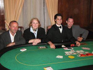 Clemens Sobek (3.), Anke Dobler (2.), Dealer Christian<br />Schmidt, Robert Baum (1.)