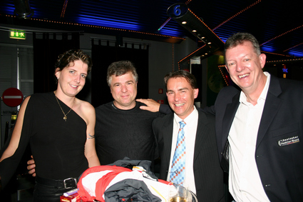 v.l. Medaillenhoffnung Imke Duplitzer, Martin Heidenreich, Piotr Sozanski und<br>Bundestrainer Manfred Kaspar. Foto Alexander Rietbrock.