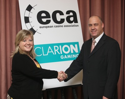 Clarion Gaming´s Karen Cooke and Ron Goudsmit of the European Casino<br>Association